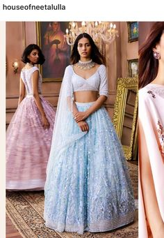 // La Belle Époque // Summer calls for a serene color palette, an explosion of art, fashion and culture. Indian Attire, Indian Ethnic Wear, Indian Blouse, Ethnic Outfits, Indian Outfits, Traditional Fashion, Traditional Dresses, Saris, Indian Lehenga