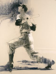 """Pastel and conte drawing created for the Special Olympics """"Spirit of Sport"""" by Bob Peak"""