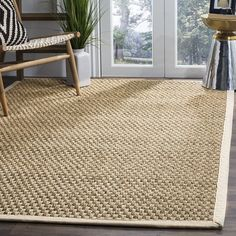 Safavieh Natural Fiber Collection NF114J Basketweave Natural and Ivory Seagrass Area Rug (6' x 9')