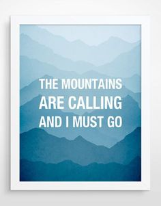 The mountains are calling Typography Poster Large Wall door evesand, $32.00