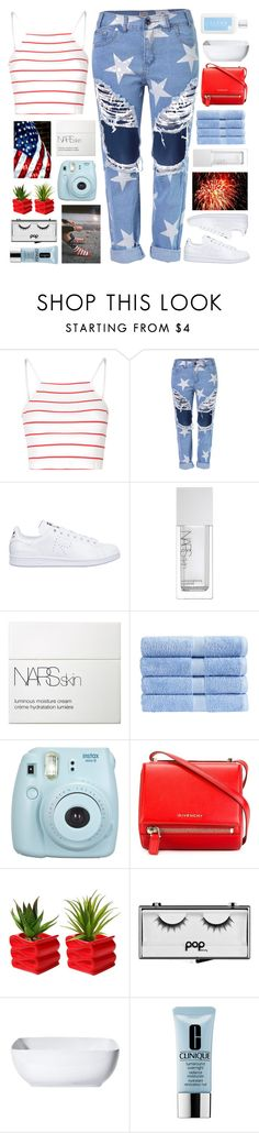 """""""4th of July"""" by tacoxcat ❤ liked on Polyvore featuring Glamorous, adidas, NARS Cosmetics, Christy, Givenchy, Pop Beauty, Threshold, Clinique and CLEAN"""