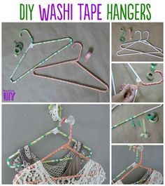 Washi Tape Hangers   14 Adorable Ways To Decorate Your Clothing Hangers