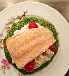 low carb, Ofen Omelette, Spinat, Lachs, Frühlingszwiebeln, Frischkäse, Rezept, Food, Foodblog, healthy, fit, healthy food, fit food