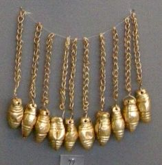 Mycenaean Gold Ornaments, ca. 1550-1450 BC,  National Archaeological Museum, Athens, Greece.