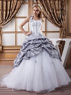 Marris - Two Tone Satin Ball Gown with Floral and Beading Details - GBP £192.33
