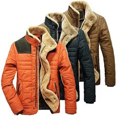 Men's Warm Jackets Parka Outerwear Fur Collar Winter Padded Coat Overcoat Fit | eBay