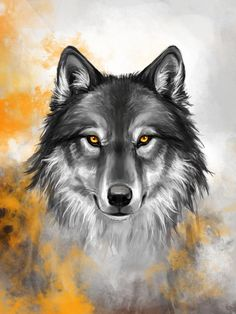 Die Besten Bernsteinfarben Wolf von KimDingwall Aquarell Tattoos The best amber wolf from KimDingwal