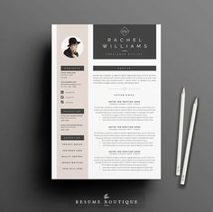 3page Resume / CV Template + Cover Letter for MS Word | Instant Digital Download…