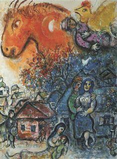 """Marc Chagall """"La gioia del villaggio"""" 1957 Acquarello e guazzo su carta Collezione privata"""