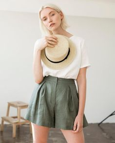 Linen Shorts Linen Shorts for Woman Laundered Linen Shorts Linen Shorts Skirt Green Moss Linen Shorts for Woman High Waist Shorts by LinenHandmadeStudio Shorts Style, Vetement Fashion, High Waisted Shorts, Modest Shorts, Long Shorts, Fashion Outfits, Womens Fashion, Fashion Shorts, Business Casual Attire