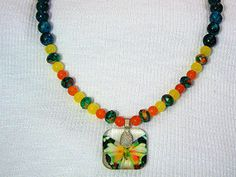 Necklace Dyed Quartz Jade With Blown Glass by gagirljewelryandgift, $15.00