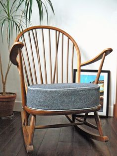 1960s Ercol rocking chair. Vintage retro chair with grey wool cushion with lighter wool piping. available for sale at http://philshakespeare.com/2014/08/17/1960s-ercol-rocking-chair/