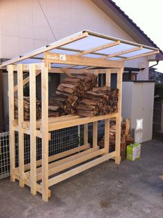 Lumber Storage, Firewood Storage, Outdoor Firewood Rack, Outdoor Storage, Wood Shed, Lean To, Interior Design Living Room, Home Projects, Pergola