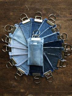 Items similar to Reclaimed Denim Chapstick Holder Key Fob Light Blue Medium Blue Dark Blue Fabric Keychain Chapstick Holder Keychain Unisex Keychain on Etsy Jean Crafts, Denim Crafts, Artisanats Denim, Blue Denim, Cut Up Jeans, Chapstick Holder, Denim Ideas, Recycled Denim, Old Jeans