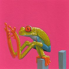 Paaltjes / Pickets - 15 x 15 cm - acrylverf op papier / acrylic on paper - 2010 - verkocht / sold Funny Frogs, Cute Frogs, Reptiles, Frog Illustration, Frog Pictures, Red Eyed Tree Frog, Strange Tales, Frog Art, Frog And Toad