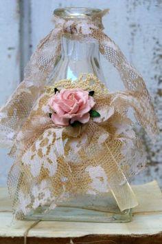 Shabby chic lace bottle