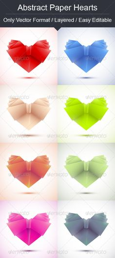 Abstract paper hearts with color variations