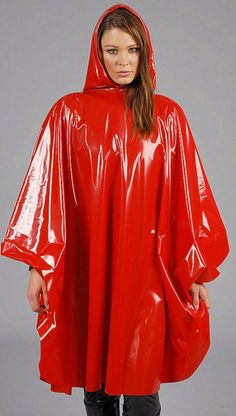 Red PVC Hooded Cape