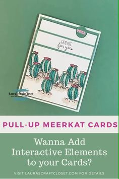 As if these little meerkats could get any cuter, they are lifting out of their burrows for a word of encouragement on this Meerkat Pull-Up Card! Find the details at LaurasCraftCloset…. Informationen zu Meerkat Pull-Up Card Cards Diy, Fun Fold Cards, Cat Cards, Pop Up Cards, Folded Cards, Kids Cards, Tarjetas Stampin Up, Stampin Up Karten, Karten Diy