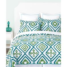 Trina Turk Ventura Ikat Embroidered Twin Quilt featuring polyvore, home, bed & bath, bedding, quilts, blue green bedding, embroidered bedding, ikat bedding, aqua blue bedding and trina turk bedding