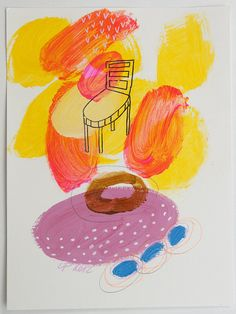 painting chair orange yellow pink original on paper by eeliethel, $35.00