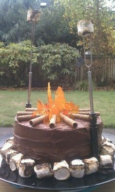 Birthday celebration is camping so why not have a campfire cake too