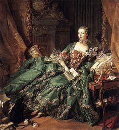 Jeanne-Antoinette Poisson, Marquise de Pompadour, ca. 1756 ~ by François Boucher. This famous portrait of the influential mistress of Louis XV (Alte Pinakothek, Munich, Germany) [1st of twp pins]