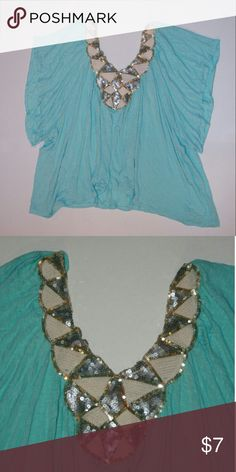 Sequin Neckline Top Light Turquoise-Mint / 100% Rayon Tops