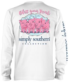 Simply Southern Preppy Collection Bless Your Heart Long Sleeve Tee in White Southern Shirt Company, Simply Southern T Shirts, Southern Outfits, Preppy Southern, Preppy Outfits, Country Outfits, Southern Marsh, Southern Tide, Southern Prep