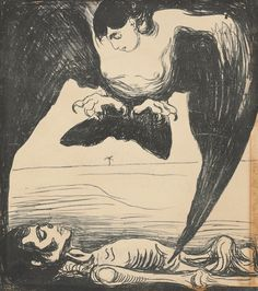 """Edvard Munch, Harpy, lithograph - In Greek mythology, a harpy was one of the winged spirits best known for constantly stealing all food from Phineus. The literal meaning of the word seems to be """"that which snatches"""" Edvard Munch, Karl Schmidt Rottluff, Franz Marc, Art Moderne, Art Graphique, Kandinsky, Art Plastique, Silkscreen, Dark Art"""