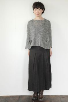 fog linen sweater and skirt, grey and black