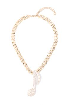 Rhinestone Studded Note Curb Chain Necklaces