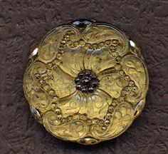"""Antique Large Lacy Paisley Button Hump Shank 1 1/4"""" Diameter Clear Glass with  Back Paint."""