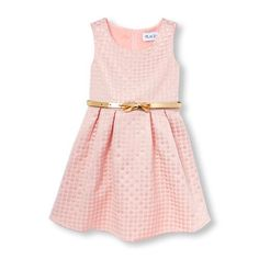 Girls Sleeveless Metallic Floral Jacquard Flare Dress - Pink - The Children's Place