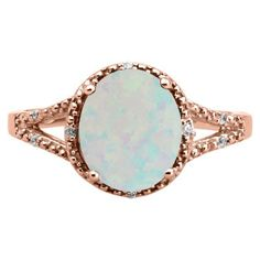 Simple Oval Cut Opal Diamond Rose Gold Ring For Women Available Exclusively at Gemologica.com Valentine's Day 2017 #Jewelry #Gift #Ideas for #Him #Her Kids. #Gemologica has simple, unique #gifts for boyfriend, girlfriend, couples including #rings #earrings #bracelets #necklaces #pendants #Jewellery #couponcode #deals #sale #Presents for #girlfriends #boyfriends #kids #men #women #Gold #Silver #Fashion #Style