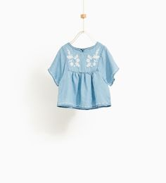 ZARA - KIDS - EMBROIDERED DENIM BLOUSE