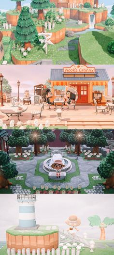 Coming up on 300 hours working on my island — here are some of my favorite spots! Animal Crossing Qr Codes Clothes, Animal Crossing Game, Motif Acnl, Forest Cottage, Magical Forest, Island Design, New Leaf, Woodland Animals, Hogwarts