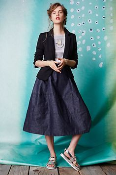 Denim Bell Midi Skirt #anthropologie #anthrofave