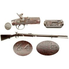 """This is a GOOD+ to NEAR VERY GOODcondition example of a rarely encountered Confederate imported P-1856 Iron Mounted""""Short Rifle"""". The gun bears the highly desirable Confederate J S / (ANCHOR)viewer's mark behind the triggerguard, and has the Confederate inventory control number 34 stamped in the wood of the belly of the stock. During 1861 and 1862, the Confederacy entered into a several contracts for the delivery of """"Enfield"""" pattern percussion long arms of all varieties. Many of these…"""