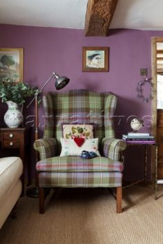 Tartan armchair with vintage anglepoise in purple living room of Ripley home Su. Tartan armchair w Living Room Themes, Cottage Living Rooms, Bedroom Themes, Living Room Modern, Living Room Sofa, Living Room Designs, Snug Room, Living Room Inspiration, Room Colors