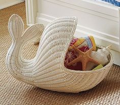 whale basket from pottery barn kids Whale Themed Nursery, Sea Nursery, Nursery Themes, Nursery Room, Mermaid Nursery Theme, Nautical Baby Nursery, Nursery Ideas, Beach Theme Nursery, Girl Nursery