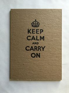 Hand made hand stamped staple bound thick cover kraft mini notebooks.  Notebook Design: Keep Calm and Carry On  Each notebook is made with a