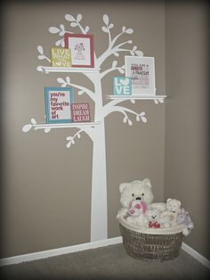 Vinyl Shelf Tree Wall Decal with shelves