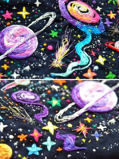 Embroidered Universe Purses, UFO Pins and Beaded Jupiter Bag, by Oliness Art Studio on Etsy See our embroidery or galaxy tags Follow So Super Awesome: Blog • Instagram • Facebook • Pinterest