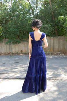 1930s Blue Velvet Gown maxi dress Wedding-formal-party-evening-feminine.