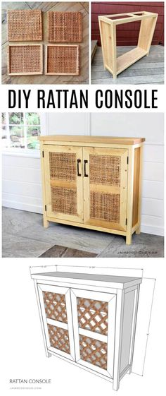 A DIY tutorial to build a console with rattan doors. Make this console perfect for TV components complete with rattan doors. #diyfurniture #rattan Diy Furniture Plans, Diy Furniture Projects, Refurbished Furniture, Cool Diy Projects, Handmade Furniture, Repurposed Furniture, Furniture Makeover, Project Ideas, Rustic Hardware