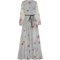 ValentinoBelted Floral-print Silk-chiffon Gown featuring polyvore, women's fashion, clothing, dresses, gowns, valentino, valentino dress, sky blue, floral ball gown, floral print dress, bow dress, floral print evening gown and layered dress