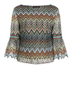 b0033cb171d498 Beige-blue volant sleeve top Sostase from zig-zag knit