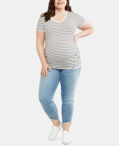82aad813d0e Eileen Fisher Plus Size Round Neck Short Sleeve Striped Top Size ...