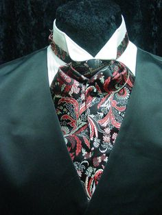 f868e1df5b5 Ascot tie old west wedding style adjustable mens tie black and red new   OldMillMercantile Ascot